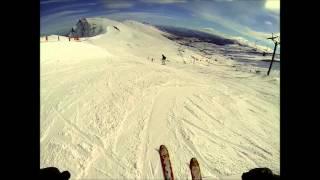 Bajada del Pico Tres Mares con nieve dura